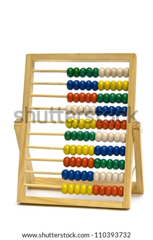 Colourful  school  abacus on a white background - stock photo