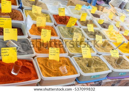 Colourful spice and herbs market in Greece