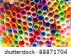 Colourful straws, red, green, blue, yellow, orange, pink  arranged side by side. - stock photo