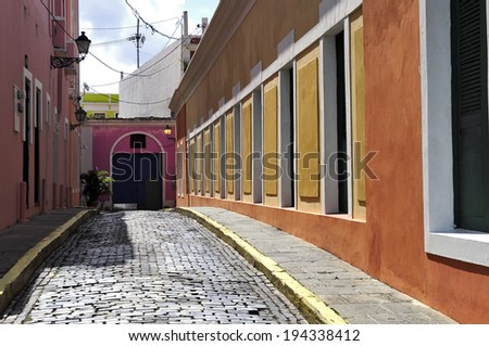 Colourful street in Old San Juan - stock photo