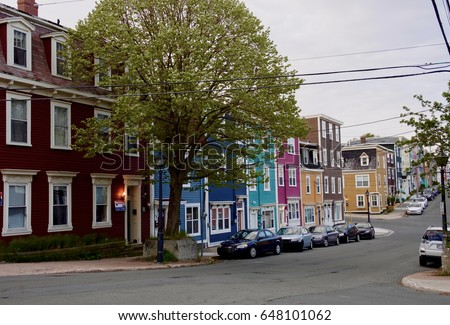 Colourful street in St. John's, Newfoundland, Canada