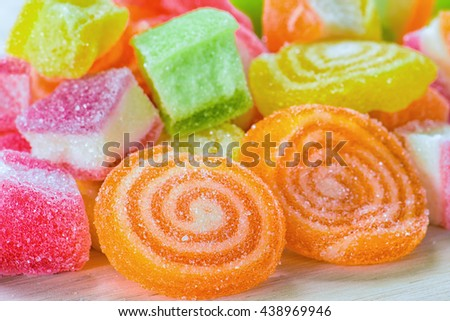 Colourful sugary candy on the table, Multicolour sugary candy for background, Colourful heart shape sugary candy - stock photo