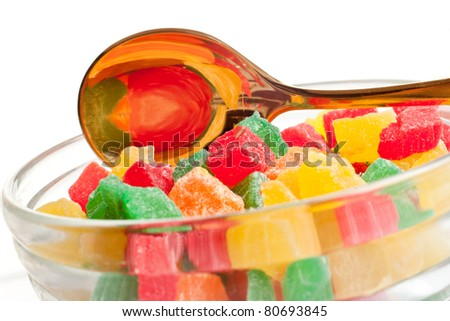 Colourful sweets isolated on white background