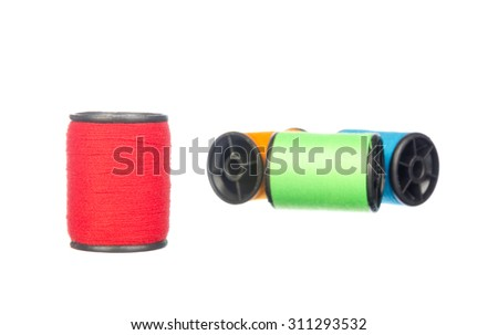 Colourful thread isolated on white background