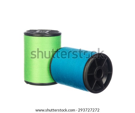 Colourful threads isolated on white background