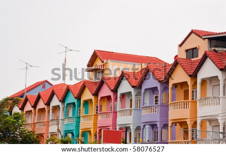 Colourful townhouse, Chonburi East of Thailand - stock photo