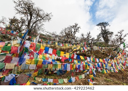 Colourful traditional prayer flags at Pelela Pass in Bhutan. - stock photo