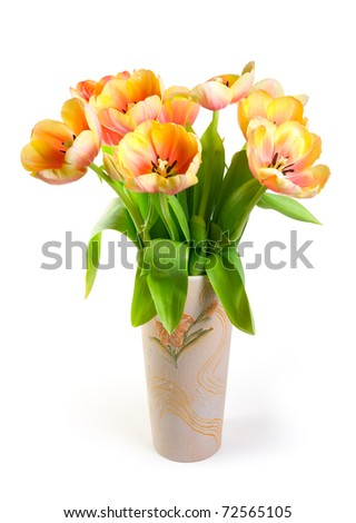 Colourful tulips in ceramic vase on a white background. Isolated path included. - stock photo