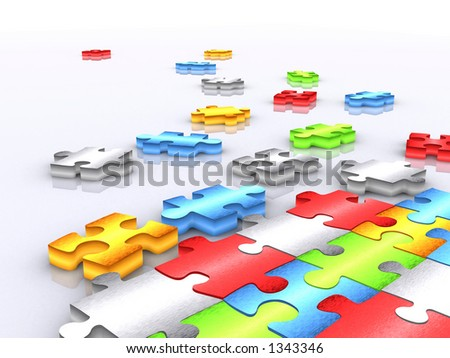 colourful unfinished puzzle over white - 3d render 2 - stock photo