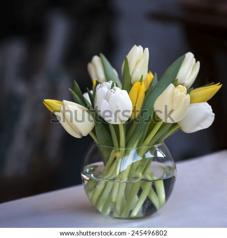 colourful white and yellow tulips in glass vase for sale - stock photo