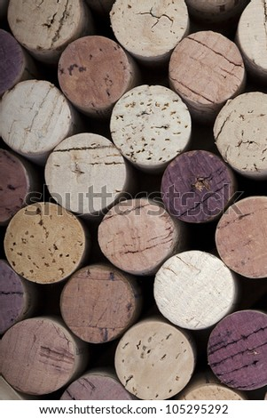 Colourful wine cork background - stock photo