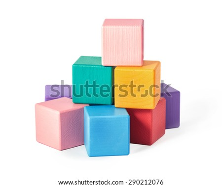 Colourful wooden toy blocks isolated on white background - stock photo