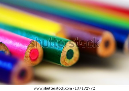 Colouring crayon pencils isolated on white background - stock photo
