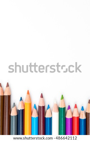 Colouring pencils isolated on white background,education concept image with copy space available