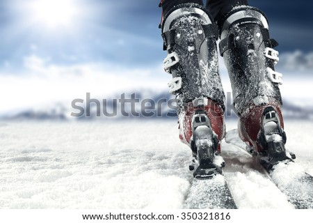 cols day on snow and skis time  - stock photo