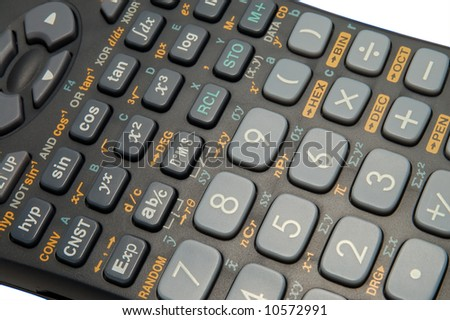 colse-up of an scientific calculator on white