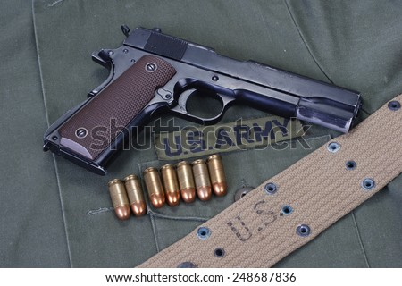 colt goverment m1911 with us army uniform - stock photo