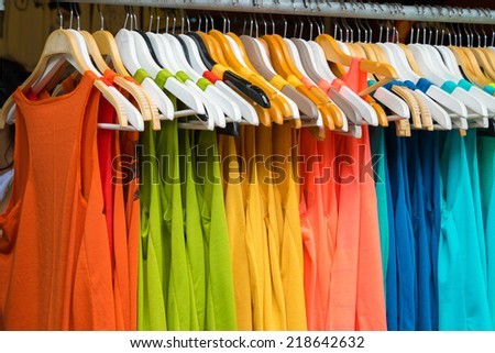 Colthes at a street shop, thailand - stock photo