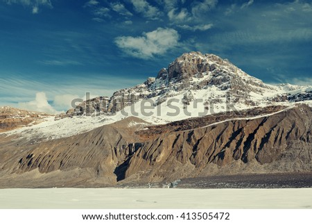 Columbia Icefield with snow covered mountains in Banff Jasper National Park, Canada.  - stock photo
