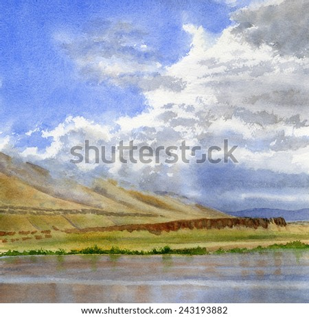 Columbia River Cloudy Sky 2.  This is a watercolor landscape of a river with a cloudy sky with reflections in the river.