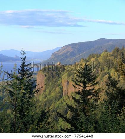 Columbia River Gorge & Vista house, Oregon. - stock photo