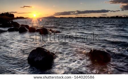 Columbia River Oregon sunset east of  Portland - stock photo