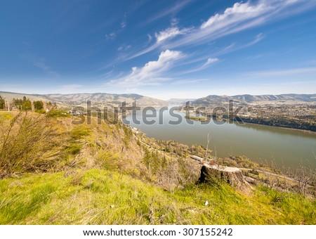 Columbia River view at Hood River - stock photo