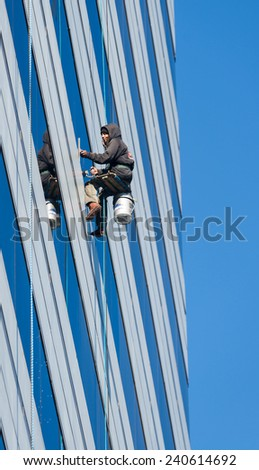 COLUMBIA, SOUTH CAROLINA - DECEMBER 10: High rise window washer at the Capitol Center on December 10, 2014 in Columbia, South Carolina