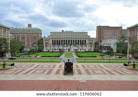 Columbia University, Central Quadrangle and Butler Library in Columbia University in Upper Manhattan, New York City, USA - stock photo