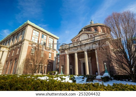 Columbia University of New York in winter - stock photo