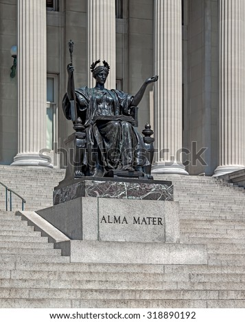 columbia university with the statue of alma mater, established in 1860, new york city - stock photo