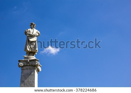 Columbus and sky background. Statue in May square, Buenos Aires, Argentina  Buenos Aires, Argentina - stock photo
