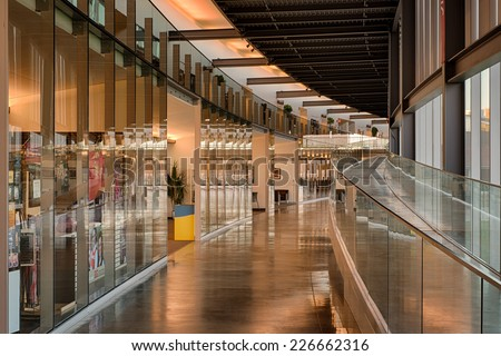 COLUMBUS, INDIANA - OCTOBER 22 - Curved corridor in the Columbus Learning Center on the campus of IUPU on October 22, 2014 in Columbus, Indiana - stock photo