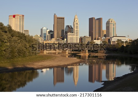 "Columbus, Ohio along the Scioto River during the ""golden hour"" - stock photo"
