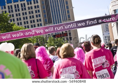 COLUMBUS, OHIO - MAY 15: A record crowd of people gather to participate in the Susan G. Komen Race for the Cure on May 15, 2010 in Columbus, Ohio.