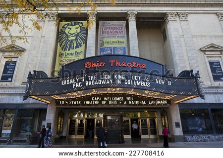 COLUMBUS, OHIO-OCTOBER 25, 2014:  The historic Ohio Theatre is a national landmark offering a variety of Broadway productions. - stock photo