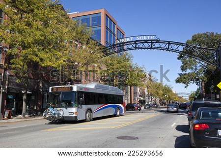 COLUMBUS, OHIO-OCTOBER 12, 2014:  The Short North area of Columbus is prime attraction for shopping and dining close to downtown. - stock photo