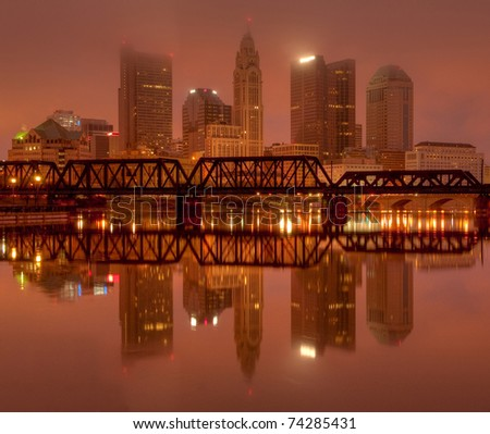 Columbus, Ohio Skyline overlooking the Scioto River at Sunrise - stock photo