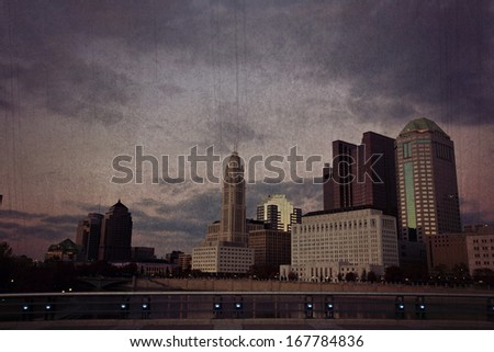 Columbus, Ohio skyline with a vintage feel