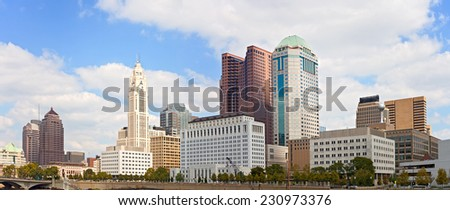 Columbus Ohio, USA downtown buildings financial center on a beautiful summer day with clouds