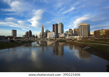 Columbus, Ohio with the Rich Street Bridge in the foreground - stock photo