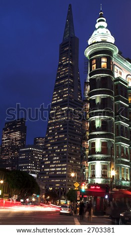 Columbus Tower & Transamerica Pyramid - stock photo