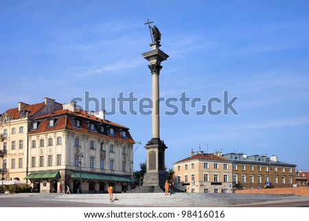 Column and statue of King Sigismund III Vasa (Polish: Kolumna Zygmunta) one of the most famous landmarks in Warsaw, Poland - stock photo