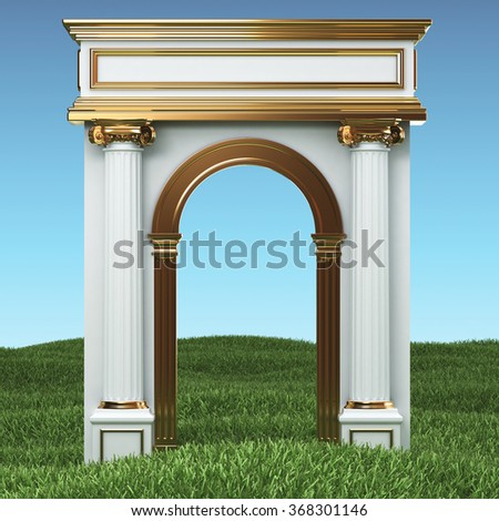 Column Arc On Grass Field - stock photo