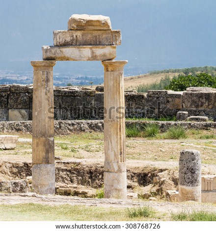 Column in the ruined ancient city Hierapolis - stock photo