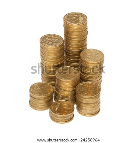 Column of golden coins isolated on white.