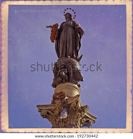 Column of the Immaculate Conception is a nineteenth-century monument in central Rome, located in what is called Piazza Mignanelli, but is only the south west extension of Piazza di Spagna - stock photo