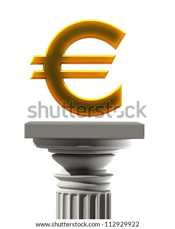 Column Pedestal with Euro symbol isolated on white background High resolution 3D