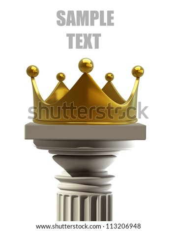 Column Pedestal with golden crown isolated on white background High resolution 3D