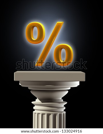 Column Pedestal with percent symbol isolated on black background High resolution 3D